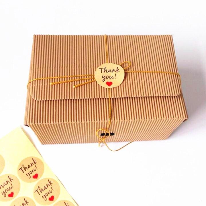 Купить с кэшбэком 100pcs/lot Stickers Handwritten 'Thank You' Red Heart Round Kraft Paper Seal Sticker For Handmade Products Gift Decoration Label