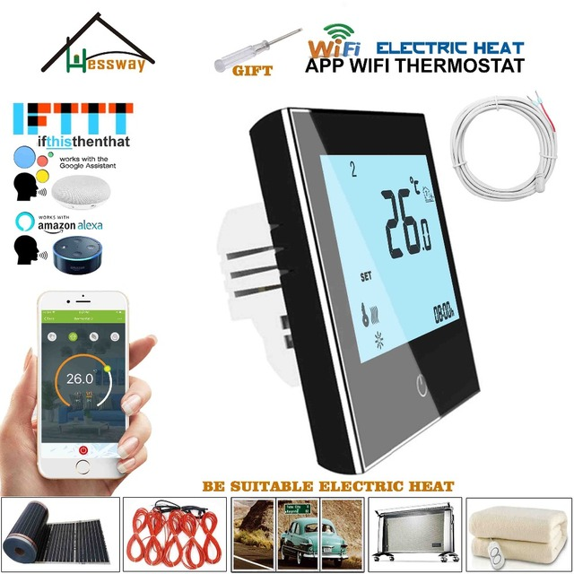 Cable de calefacción de 16 A, sensor de termostato de calefacción por voz de calefacción eléctrica wifi para trabajos con Alexa Google home ITFFF