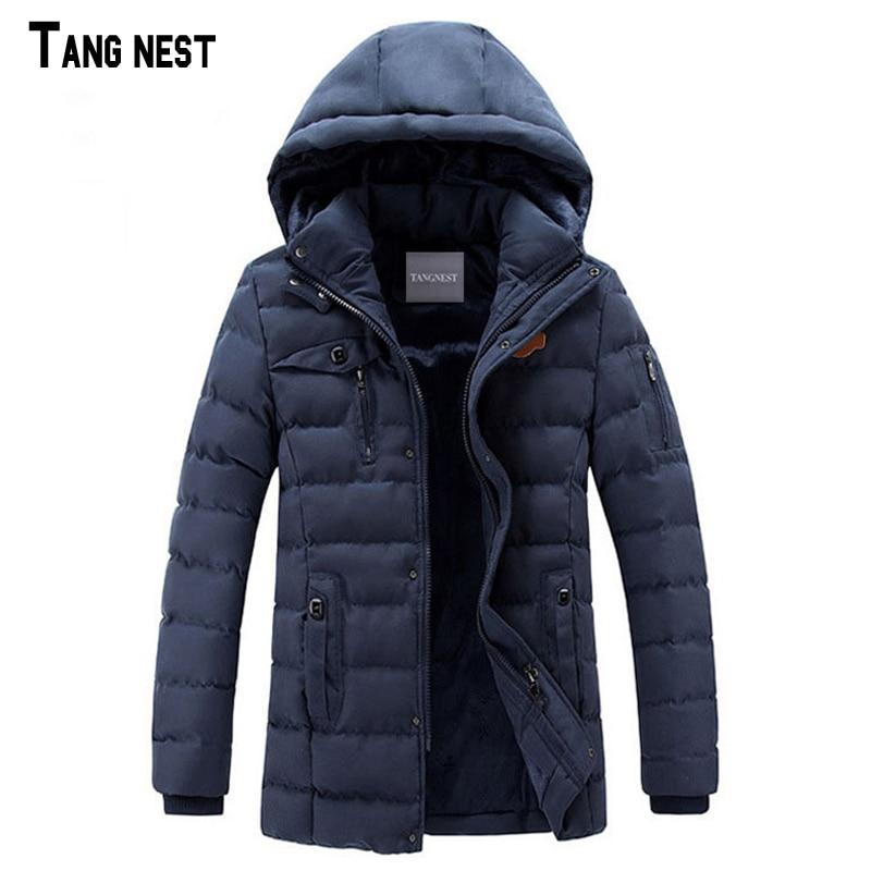 TANGNEST Men Long Coats 2017 New Fashion Men's Winter Casual Hooded Windbreaker Coat Male Solid Slim Fit Outwear MWM1497