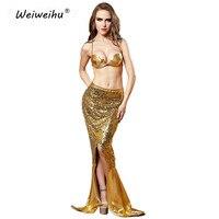 Adulto fantasia traje de cola de sirena sexy disfraces ariel sirena para girl dress latex danza del vientre de oro