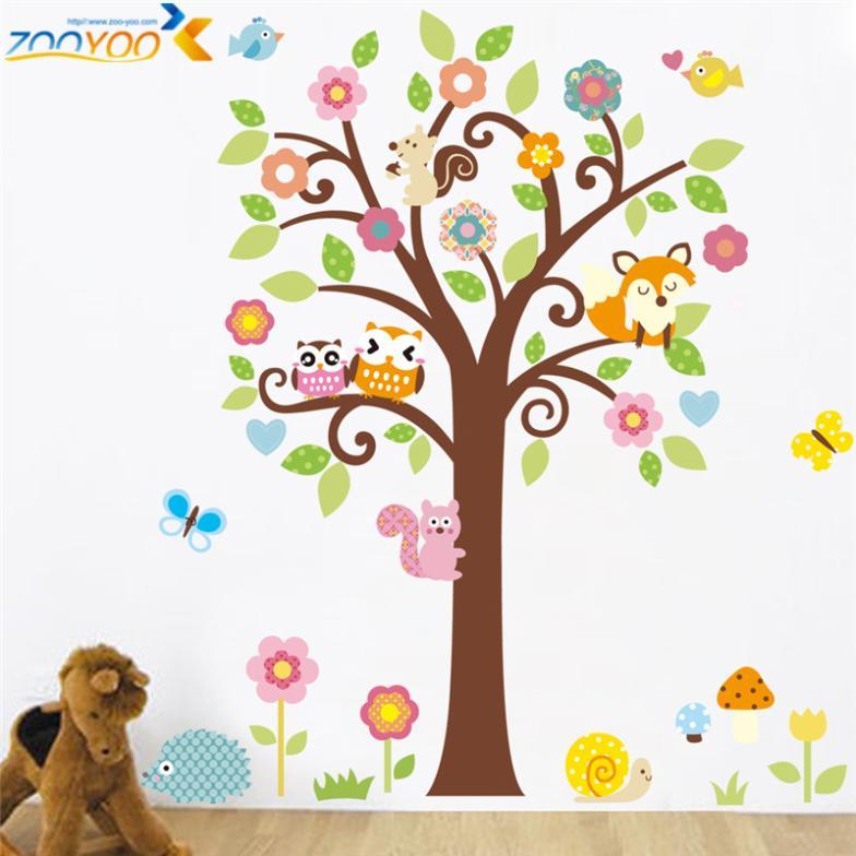 lindo wise bhos rbol pegatinas de pared para la decoracin de la habitacin nios nursery cartoon