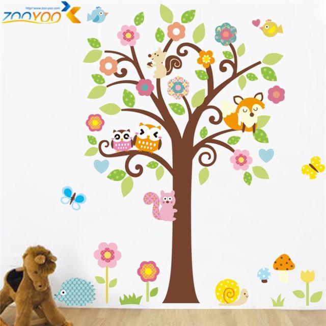 Cute Wise Owls Tree Wall Stickers For Kids Room Decorations Nursery Cartoon  Children Decals Pvc Animal
