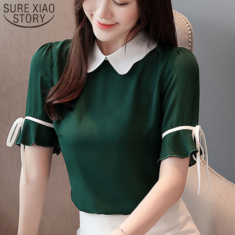 2019 Chiffon Blouse Women Clothing Short Bow Solid Peter Pan Collar Ladies Tops Blouse Shirts Korean Fashion Clothing 3463 50(China)