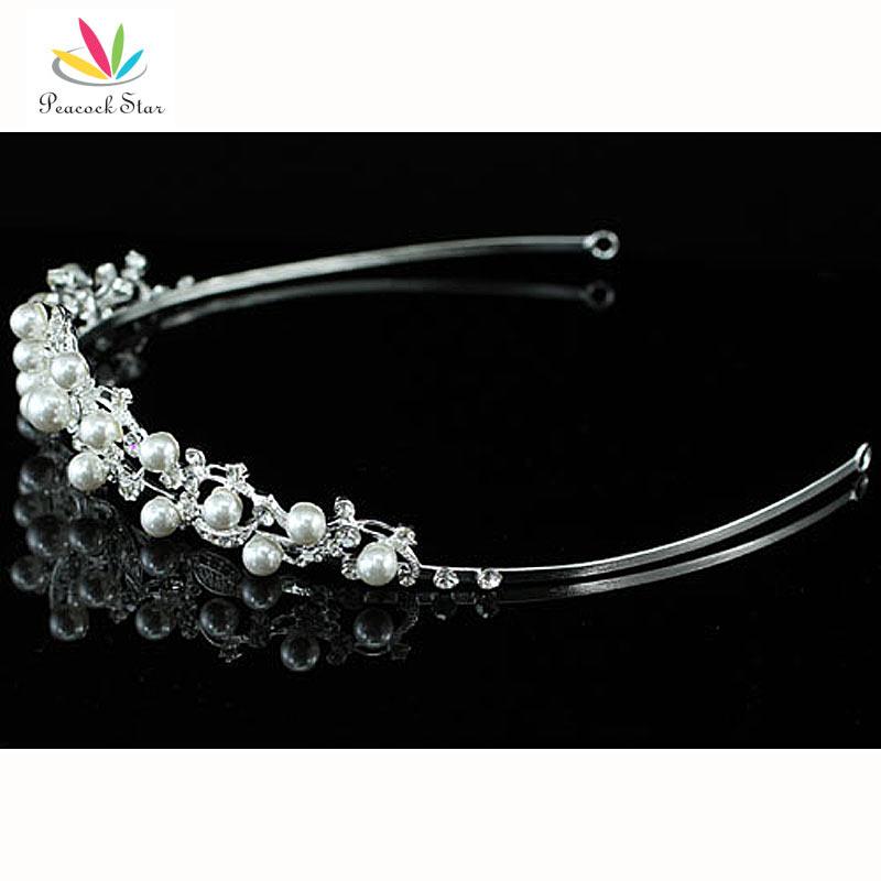 павлин звезда подружки невесты свадебная вечеринка качество цветок белый имитация перл тиара ct1372