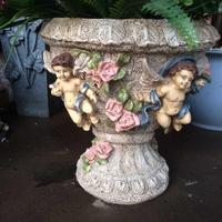 Outdoor Gardening Cupid Flower Fairy Angel Ornaments Cement Fleshy Plant Flower Pot Decoration Courtyard Park Figurines Crafts