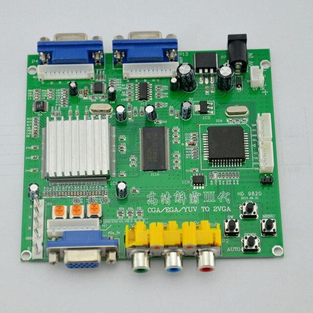 Бесплатная Доставка Новое Прибытие HD9820 Video Converter Совета Поддержка CGA/EGA/VGA/YUV к VGA Компонентный Сигнал вход