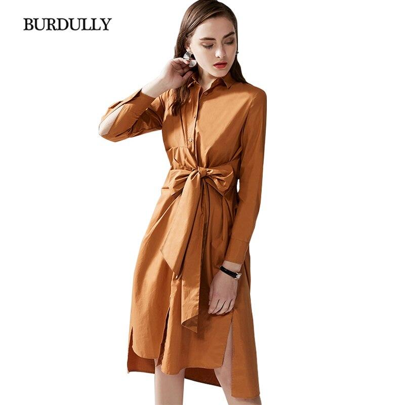 Burdully Solide Brown Bureau white shirt Coton Régulière 2019 Printemps Col longueur Robe Tum T À bas Pleine Douille Manches Genou Longues Lady D'été P8wOnk0X