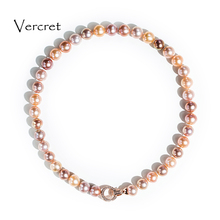 Vercret 925 sterling silver freshwater pearl necklace multicolor clasp 10-11mm pearl necklace for women pearl jewelry