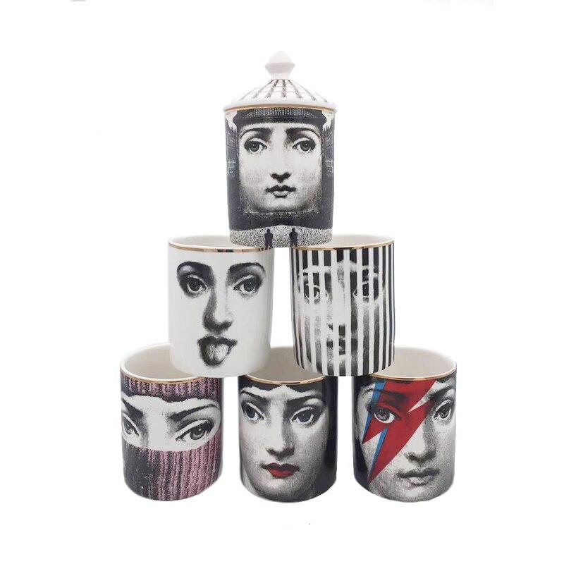 Human Face Decorative Jar Diy Handmade Candle Holder Bottle Cotton Swab Storage Bin Gold Lib Ceramic Caft Makeup Pen Holder in Bottles Jars Boxes from Home Garden