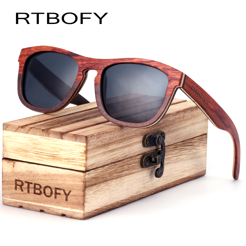 RTBOFY Sun Glasses For Men Square Wood Plywood Wood Sunglasses Women Brand Designer with Wooden Box shades 2017 Eyewear