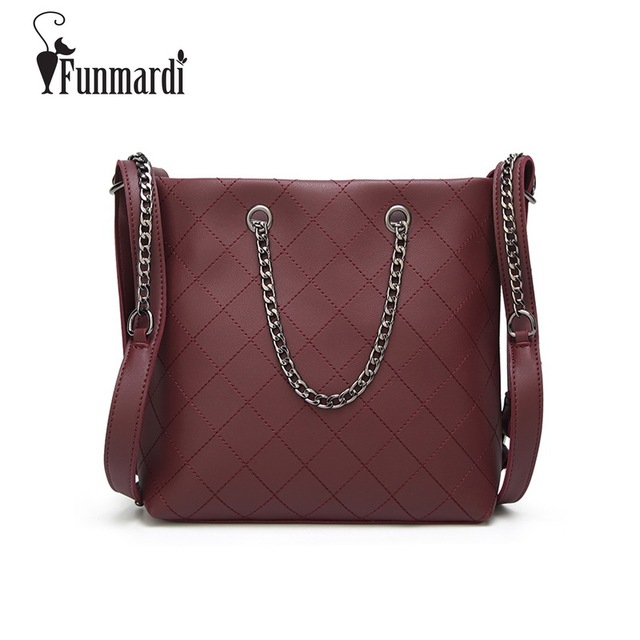 e588d0021 FUNMARDI Vintage High Capacity Women Handbag PU Leather Trendy Totes  Fashion Simple Design Shoulder Bags Star Style Bag WLAM0180