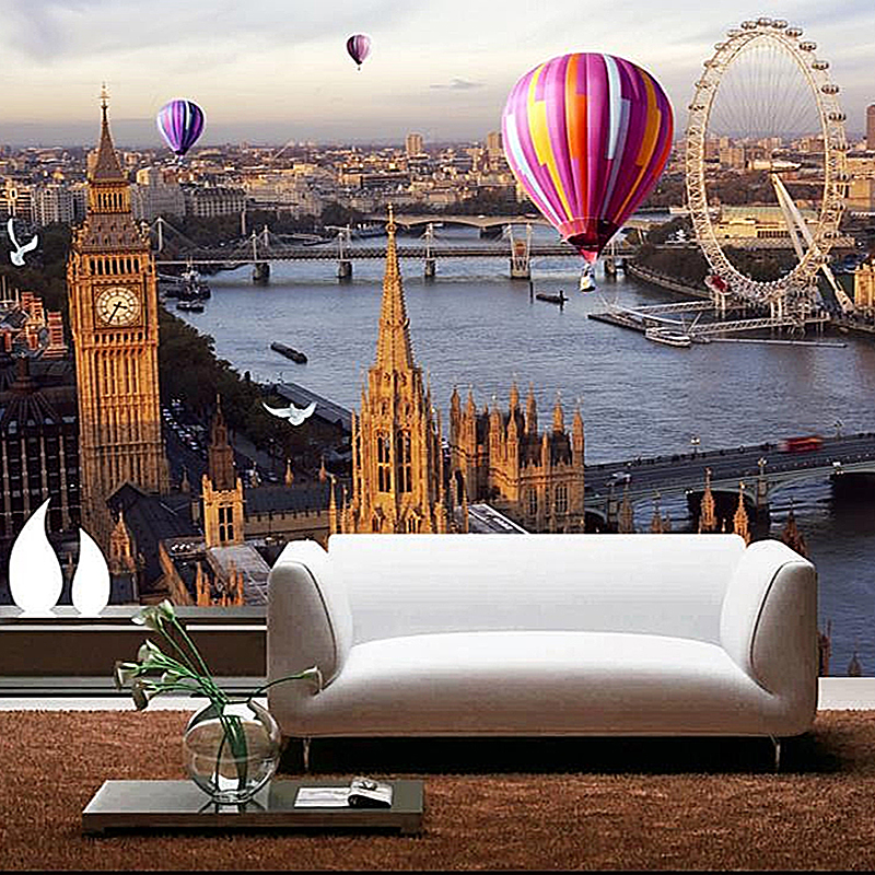 Custom Mural Wallpaper Roll 3D Grain Straw Modern European City Photo Hot Air Balloon River Wall Cover For Living Room Backdrop ao058m 2m hot selling inflatable advertising helium balloon ball pvc helium balioon inflatable sphere sky balloon for sale