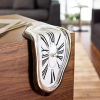 Hot Novelty Salvador Style Creative Shelf Wall Clock Irregular Warp Melting Clock For Family Home Decor Birthday Gift