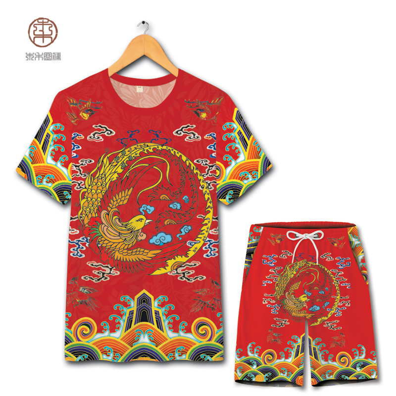 Chinese National Style Phoenix Pattern Printing T Shirt And Shorts Suit Summer 2018 New Hollow Breathable Quality Mens Short Set
