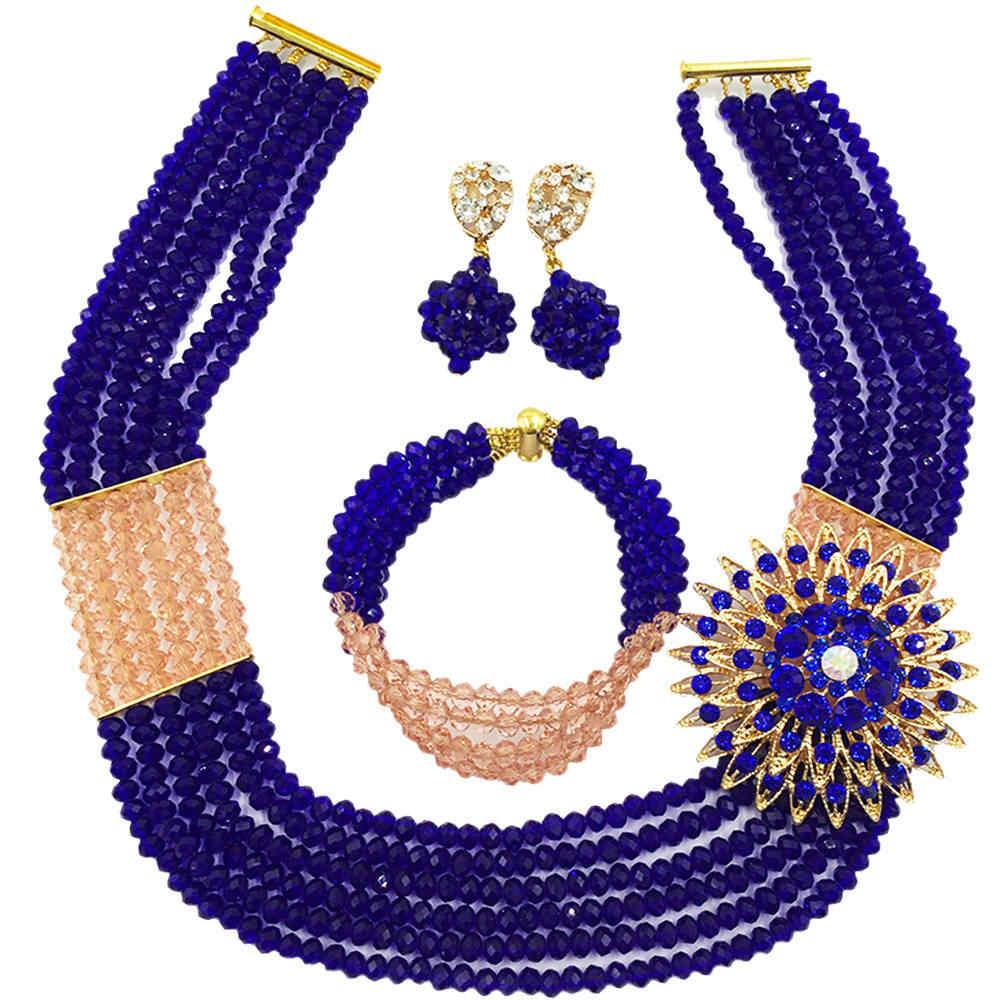 אפרסק האופנה רויאל בלו חרוז גדילים רב שרשרת גביש סט תכשיטי חרוזים אפריקאים כלה ניגרית 6-SS31