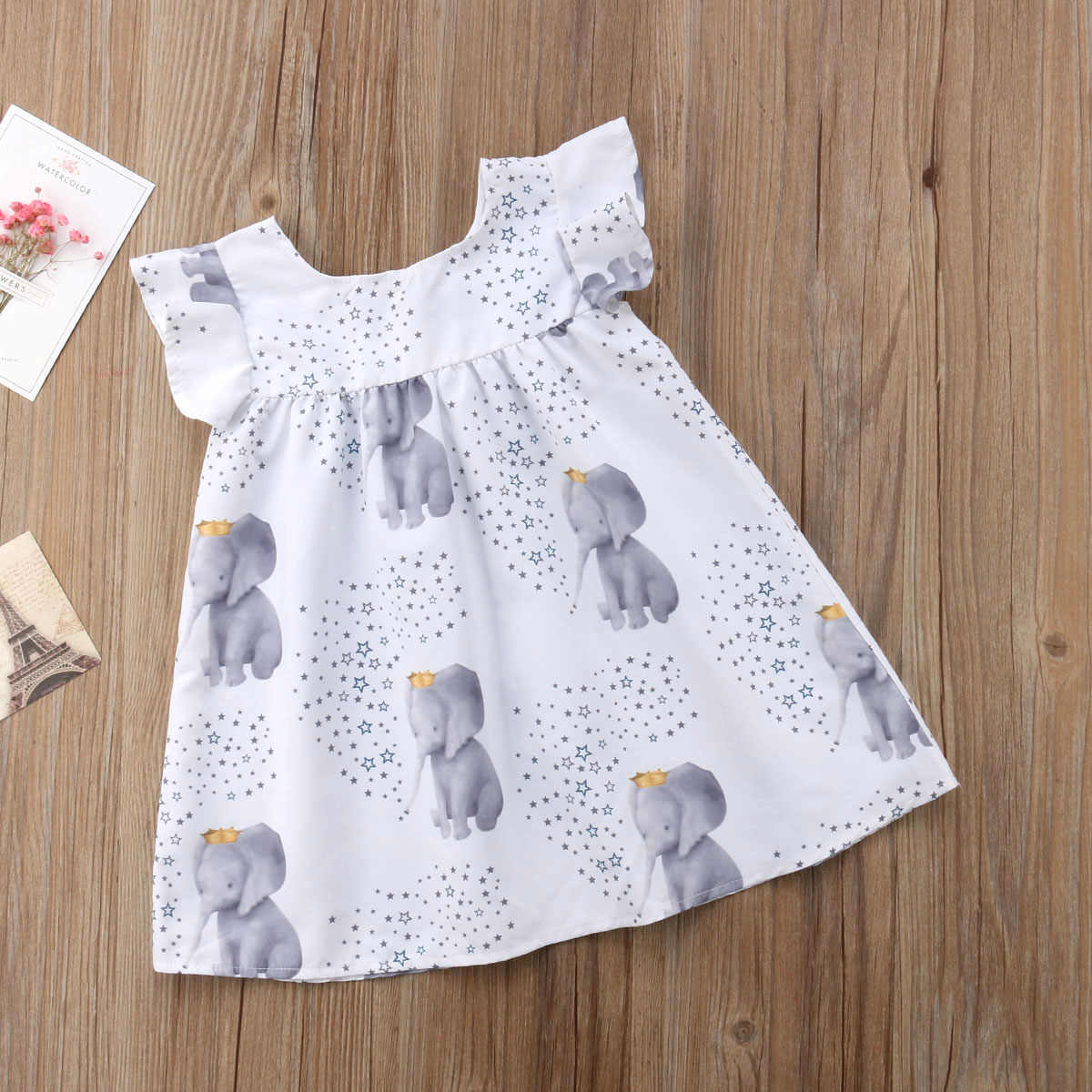 4db232611c433 ... Toddler kid Baby Girls Summer Dress Star Elephant Print Princess Party Dress  Clothes Sundress Children Clothing ...