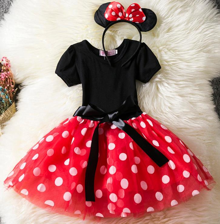 Girls Minnie Mouse Dress Summer Child Cartoon Mouse Tutu Dress Polka Dots Halloween Christmas Girls Dresses Costume polka dots spaghetti straps womens short dress