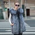 2017 Warm Real Fur Vest Fashion Winter Women Fox Fur Vests High Quality Woman Silver Fox Fur Coat Jacket Female Ladies Fur Coats