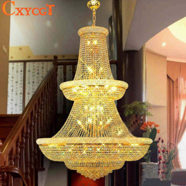 placeholder 120cm Luxury Big Europe Large Gold Luster Crystal Chandelier  Light Fixture Classic Light Fitment for Hotel a926da87f841