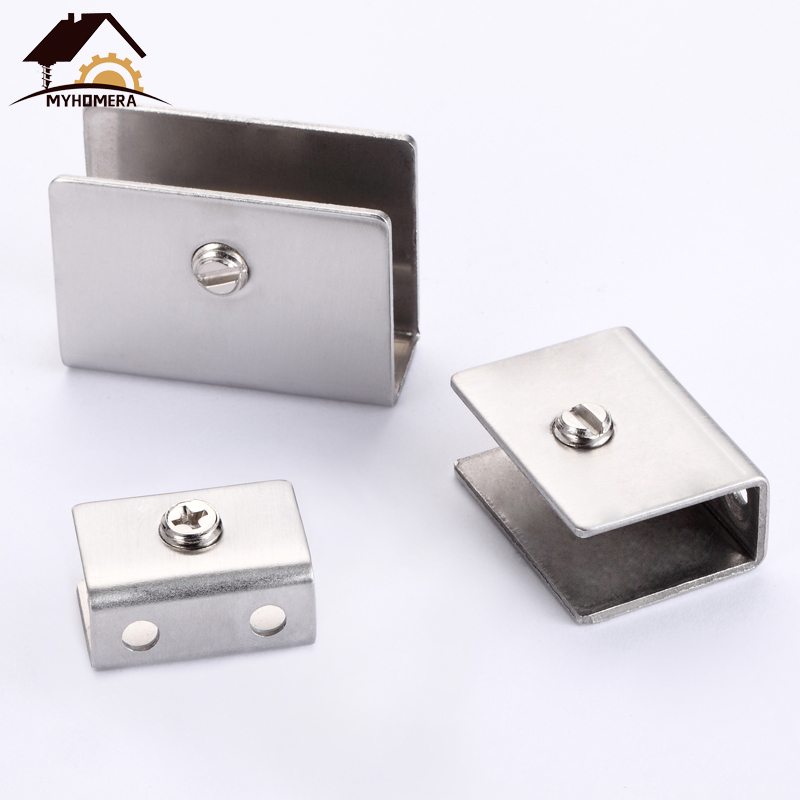 Myhomera 4Pcs Adjustable 5-13mm Stainless Steel Glass Clamps Square Shelves Support Corner Bracket Glass Clips Wall Mounted