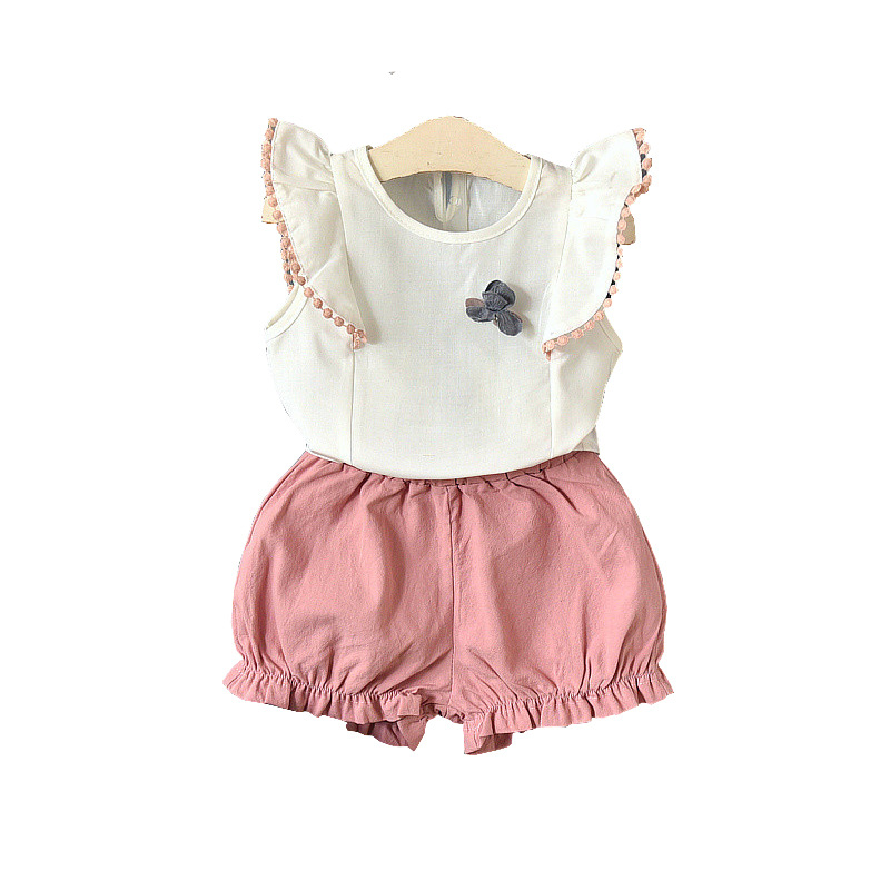 Toddler Girls Summer Style Clothing Set 2PCS 2018 New Children Cloth Suit Petal Sleeve Vest Top + Short Pant Baby Girl Clothes