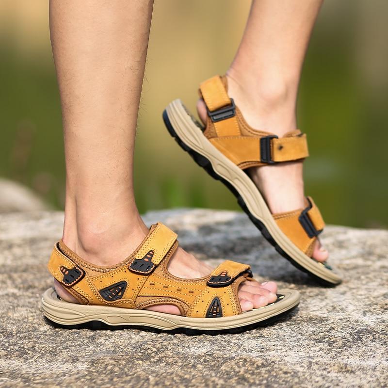 De Brown Livre yellow Homens Camurça Casuais Genuíno Ao Verão Masculinos Black Sapatos Ar Couro Sandálias Chinelos dark ZEHaqw4q