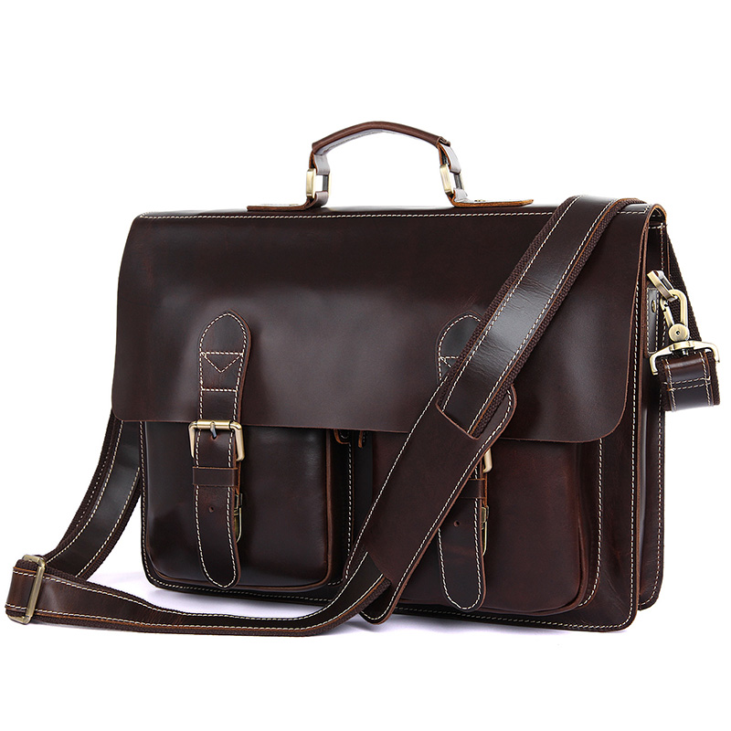 J.M.DJ.M.D High Quality Genuine Cow Leather Men's Hand Briefcases Hot Selling Fashion Laptop Handbag Brown 7105Q-1 hot selling 2017 new fashion 1 1 quality genuine leather women handbag speedy bag 30 35cm with starp free shipping