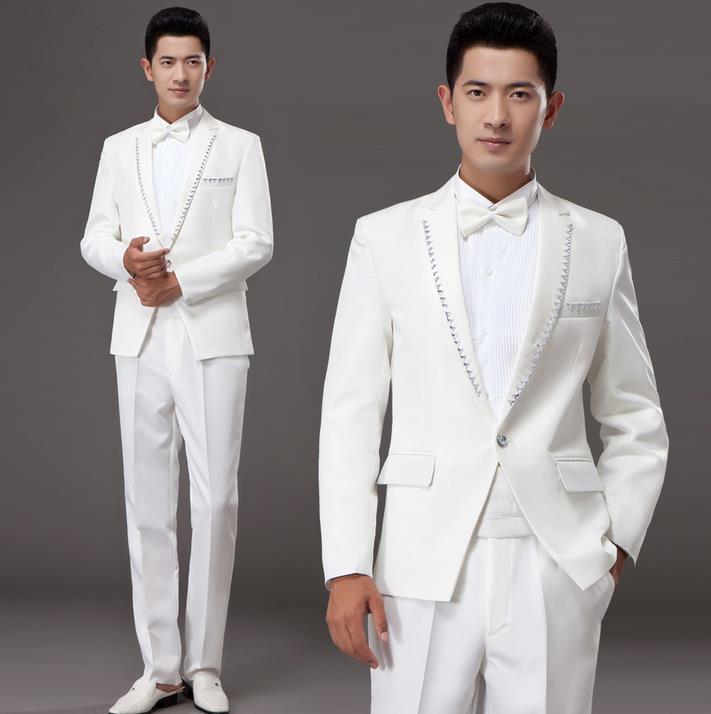 Bianco coreano diamante sposato set abito formale abiti da uomo matrimonio sposo vestito degli uomini ultime coat pant designs abiti da uomo + pant + ti