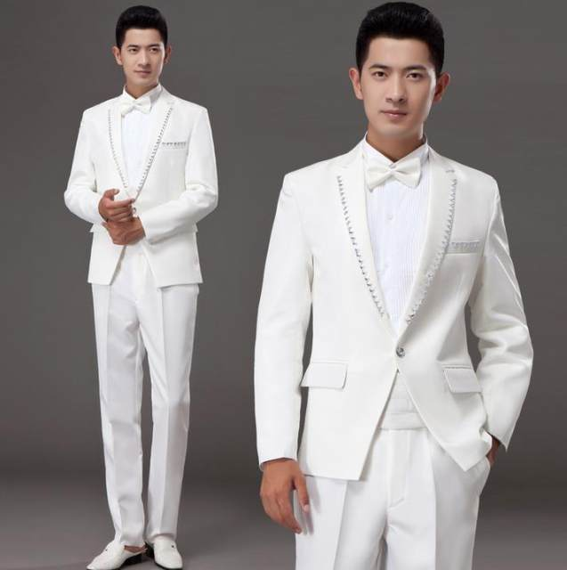 Online Shop White korean diamond married formal dress set mens ...