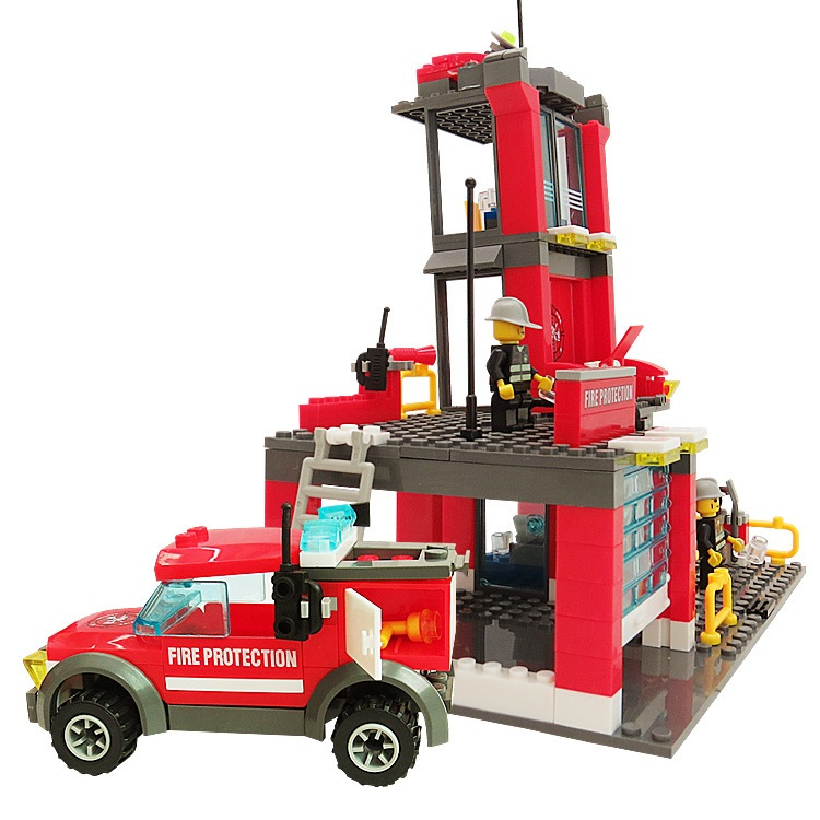 KAZI City Fire Station 300pcs Building Blocks Compatible all brand city Truck Model Toys Bricks With Firefighter drop shipping