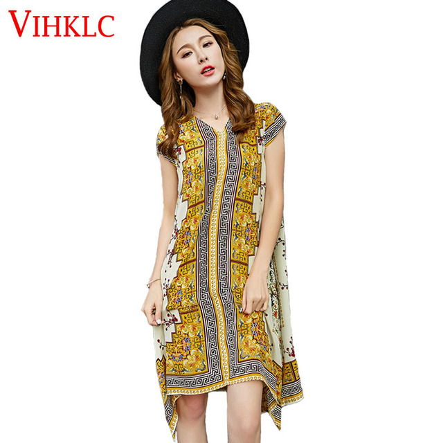 805a98a0e889f Boho Style Summer Women Dress Sexy Sundresses Deep V Ethnic Floral Print  Tunic Beach Dresses Plus Size Casual Silk Dresses A439