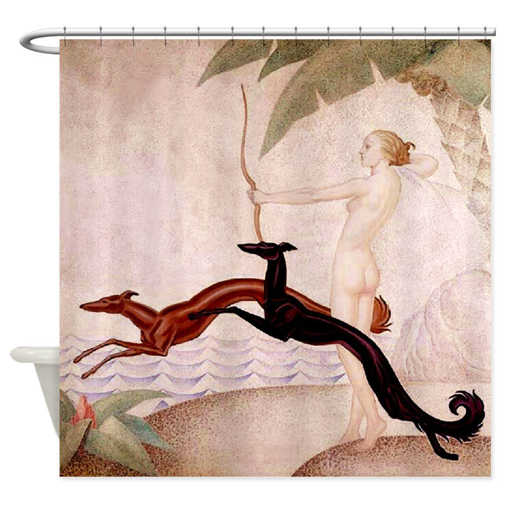 Art Deco Hounds Diana Decorative Fabric Shower Curtain For The Bathroom With 12 Hooks