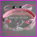 1 pc Moda Trança Pulseira de Fita Cor de Rosa Amor Rhinestone Bead Símbolo Do Poder do Cancro da Mama Pulseira Macrame Jóias para As Mulheres
