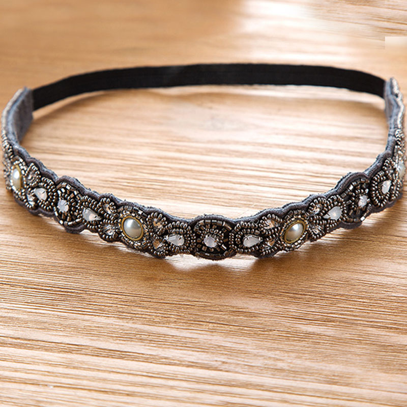Metting Joura Vintage Bohemian Ethnic Grey Seed Beads  Knitted Flower Elastic Headband Hair Band Hair Accessories vintage bohemian ethnic colored tube seed beads flower rhinestone handmade elastic headband hair band hair accessories