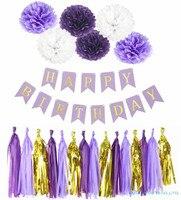 Mermaid Theme Birthday Decor Paper Tassels Flower Ball Boy Girl Happy Birthday Banner Kids Party Baby