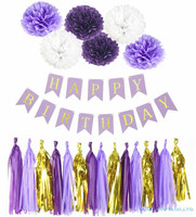 Mermaid موضوع ديكور شرابات زهرة الورق الكرة صبي فتاة سعيدة عيد ميلاد راية الاطفال إمدادات حزب استحمام الطفل