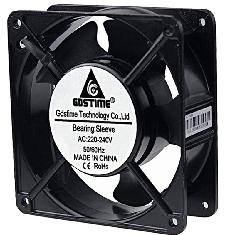 1 Piece Gdstime AC 220V 240V 2Wire 12038S 120x38mm 12cm 120mm Cooling Case Fan