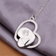 Новый Список Горячей продажи посеребренные подвески пара в форме сердца Кристалл Ожерелье тенденции Моды, Ювелирные Изделия Подарки