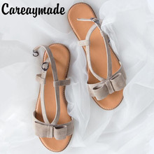 Movland-Summer new Kid suede Sheep leather Fltas shoes,Butterfly-knot simple small fresh pure handmade Japanese sandals