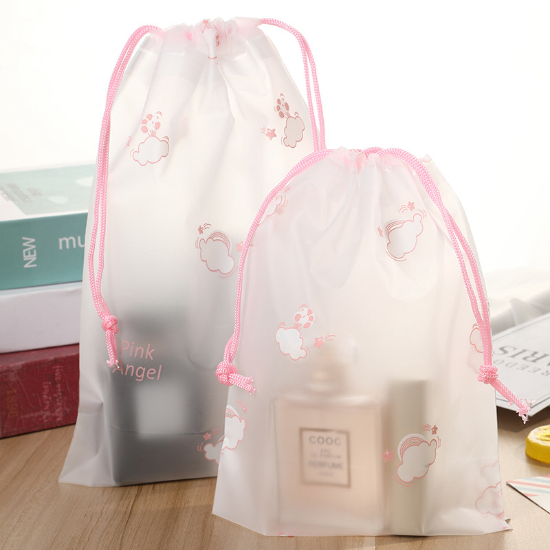 Cute Pink Cloud Transparent Make Up Bag Travel Drawstring Cosmetic Case Organizer Storage Wash Box Toiletry Beauty Makeup Pouch