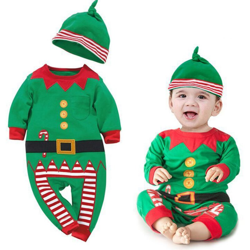Christmas Newborn Clothes Long Sleeve Spring Children Infant Clothing Set  Baby Rompers Costume Kids Children Top + Hat 2017 newborn baby photography props infant knit crochet costume peacock photo prop costume headband hat clothes set baby shower gift