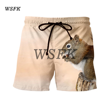 WSFK 2019 шорты мужские Men's casual solid color shorts suit animal squirrel print shorts summer beach shorts large size