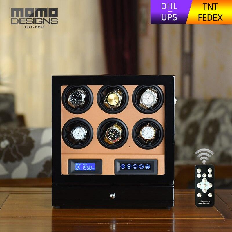 HOTSALE di Lusso Watch winder scatola 6 automatico della vigilanza di caso di esposizione con LCD touch screen/telecomando/HA CONDOTTO LA luce per il regalo Di Compleanno