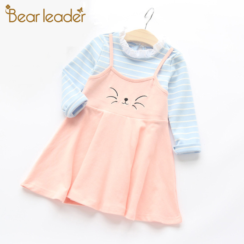 Bear Leader Spring Cartoon Grils Dress 2018 New Girls Clothes Long Sleeve Kitty Embroidery Fake Two Piece Dress for Kids Clothes bear leader girls dress 2017 new spring