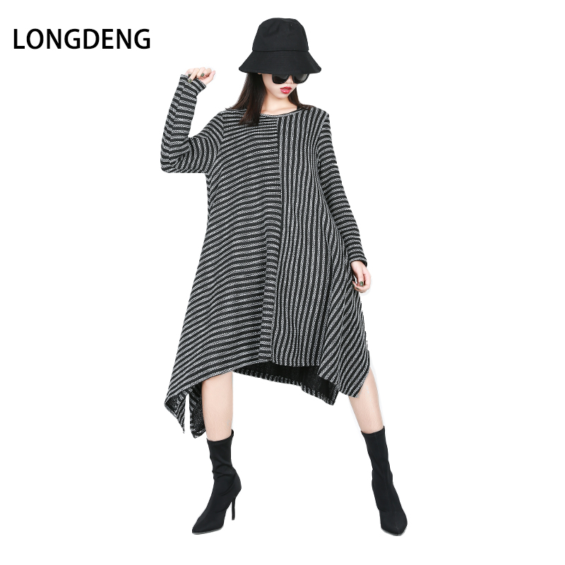 2019 Autumn Winter Sweater Dress Women Black Striped Dress O-neck Long Sleeved Casual Loose Irregular Plus Size Dress For Women