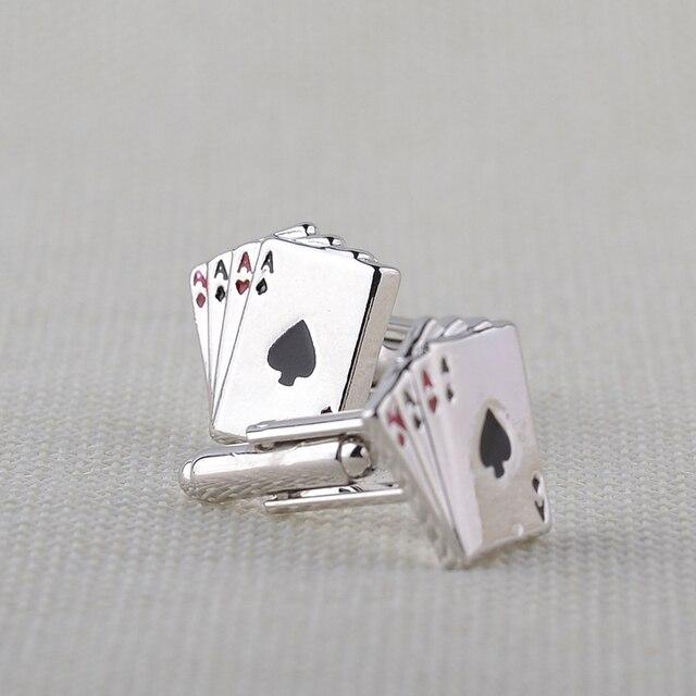 4A poker kol düğmeleri erkek Fransız gömlek manşet bağlantılar Kartları Tasarım manşet bağlantılar Moda erkekler Takı Için babalar Günü hediye