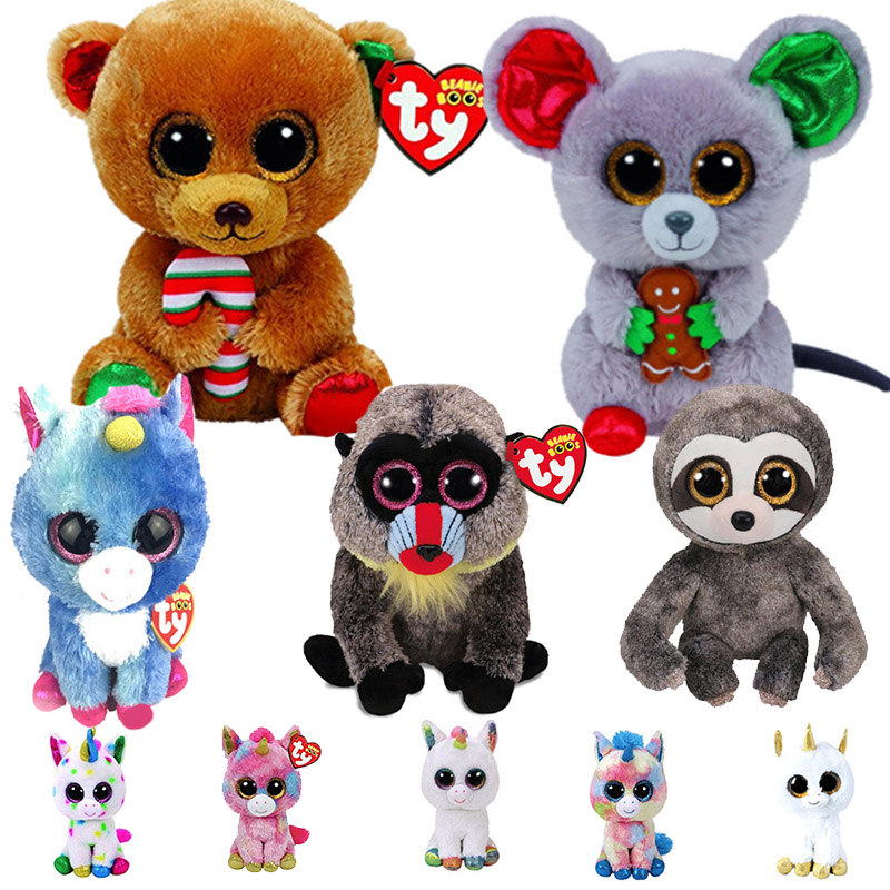 966cdcf1b6f Detail Feedback Questions about Ty Beanie Boos 6 15cm Christmas bear mouse  elk Poodle Owl Fish Bunny Penguin Turtle Lamb Plush Big eyed Stuffed Animal  Doll ...