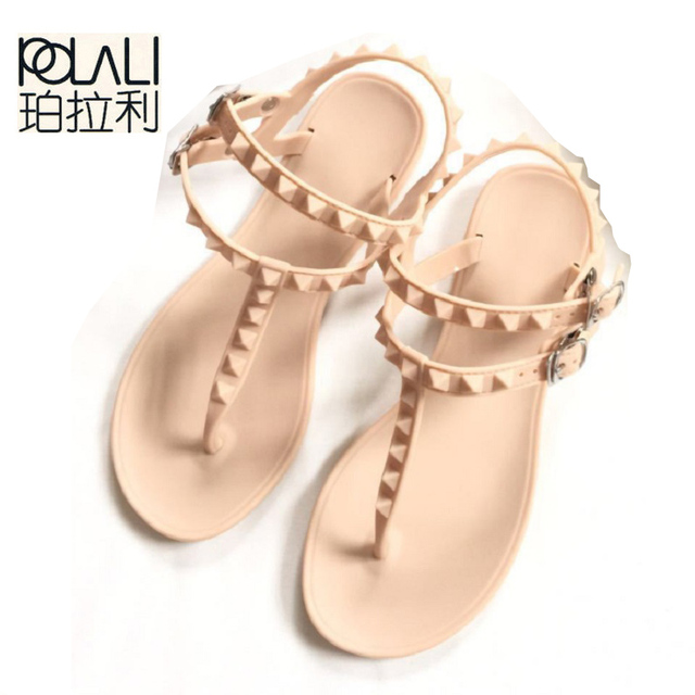 0cf1b56463ac0c POLALI Flip Flops Sandals Flat With Rivet Solid Buckle Strap Plastic Jelly Shoes  Sandals Women Beach Sandals Flip Flops Shoes