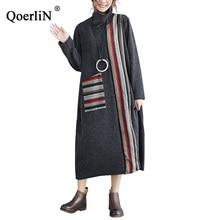 QoerliN Vintage Turtleneck Dress Spring Women Fashion Striped Warm Long Maxi Sleeve Straight Vestidos Plus Size Big