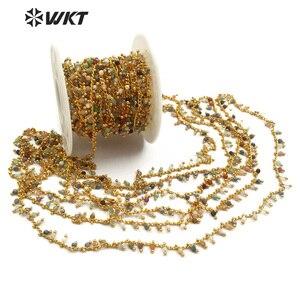 Image 4 - WT RBC094 WKT nowa hurtownia pięć metrów/partia naturalny wielokolorowy kamień mieszane z mosiądzu różaniec łańcuch biżuteria making naszyjnik